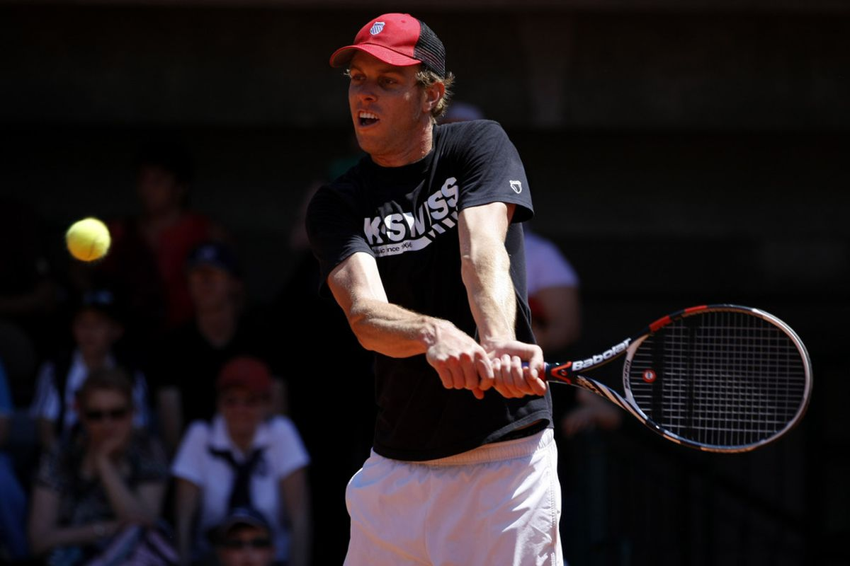 PARIS, FRANCE - MAY 26:  Sam Querrey of United States hits a backhand during a practice session ahead of the 2012 French Open at Roland Garros on May 26, 2012 in Paris, France.  (Photo by Dan Istitene/Getty Images)