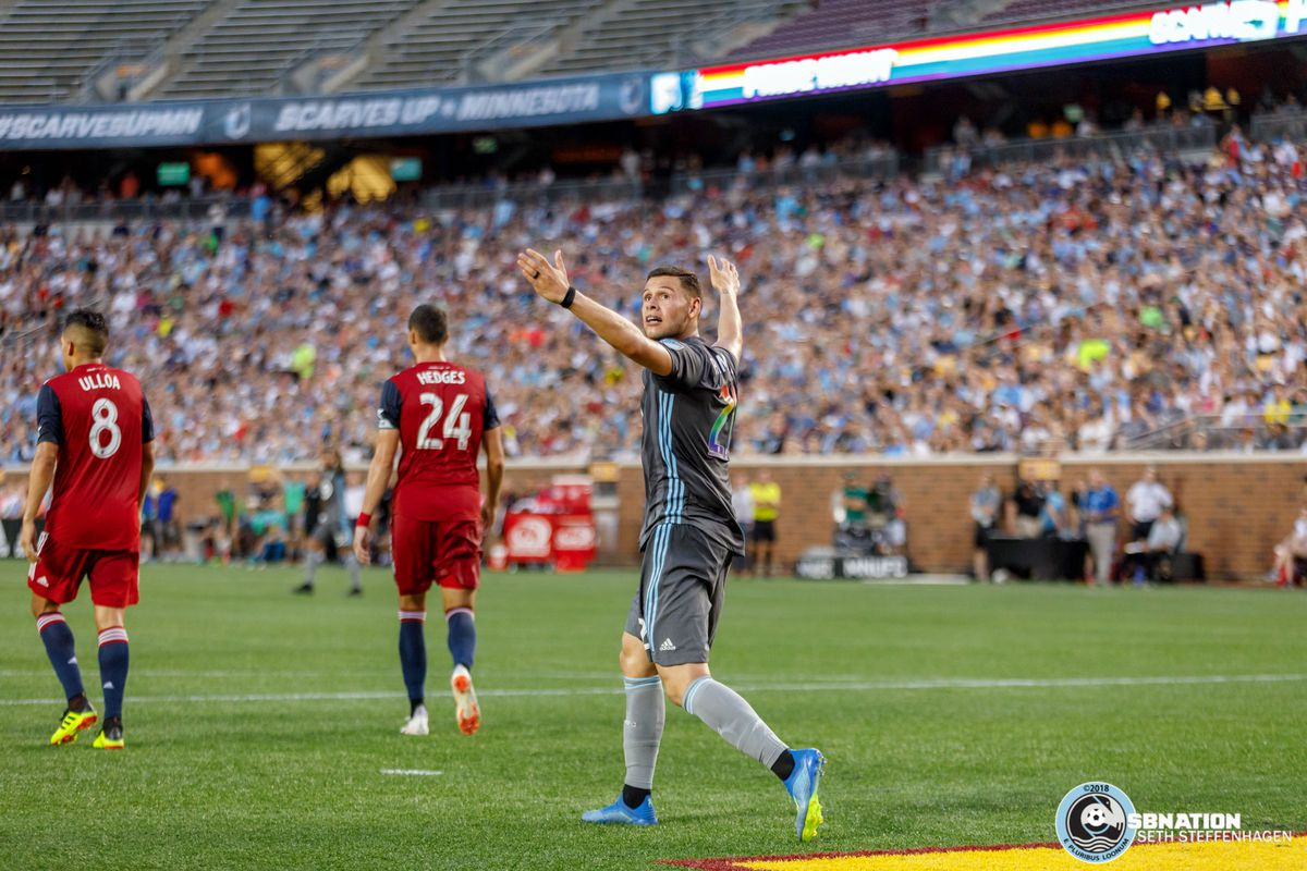 June 29, 2018 - Minneapolis, Minnesota, United States - Minnesota United forward Christian Ramirez (21) turns back to look at the replay of a previous play when a foul wasn't called during the match against FC Dallas at TCF Bank Stadium.