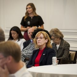 """Members of the audience watch the panel discussion during the """"Fifth Annual American Family Survey: Myths about families, plus what Americans really think about paid family leave"""" panel discussion at the American Enterprise Institute in Washington, DC, Thursday, September 12, 2019."""