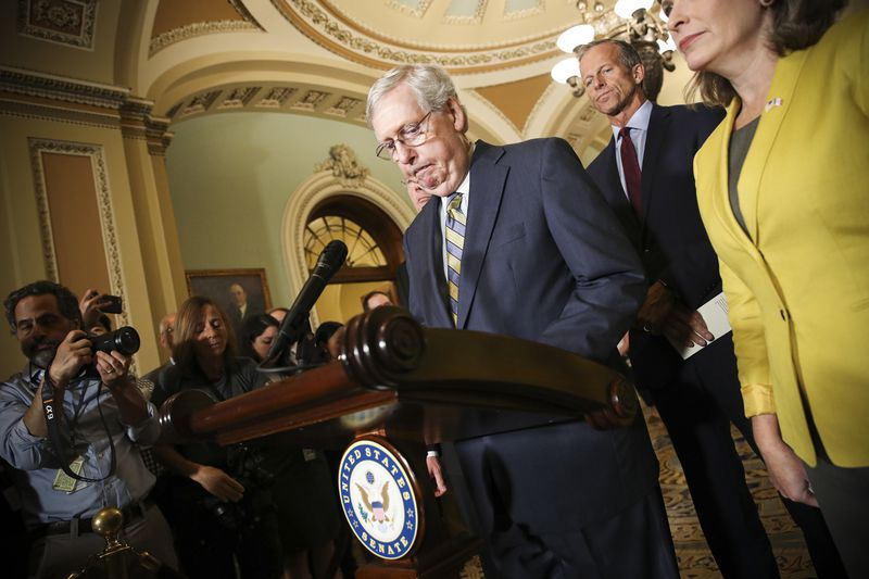 Senate Majority Leader Mitch McConnell answers questions on the potential of impeachment proceedings.