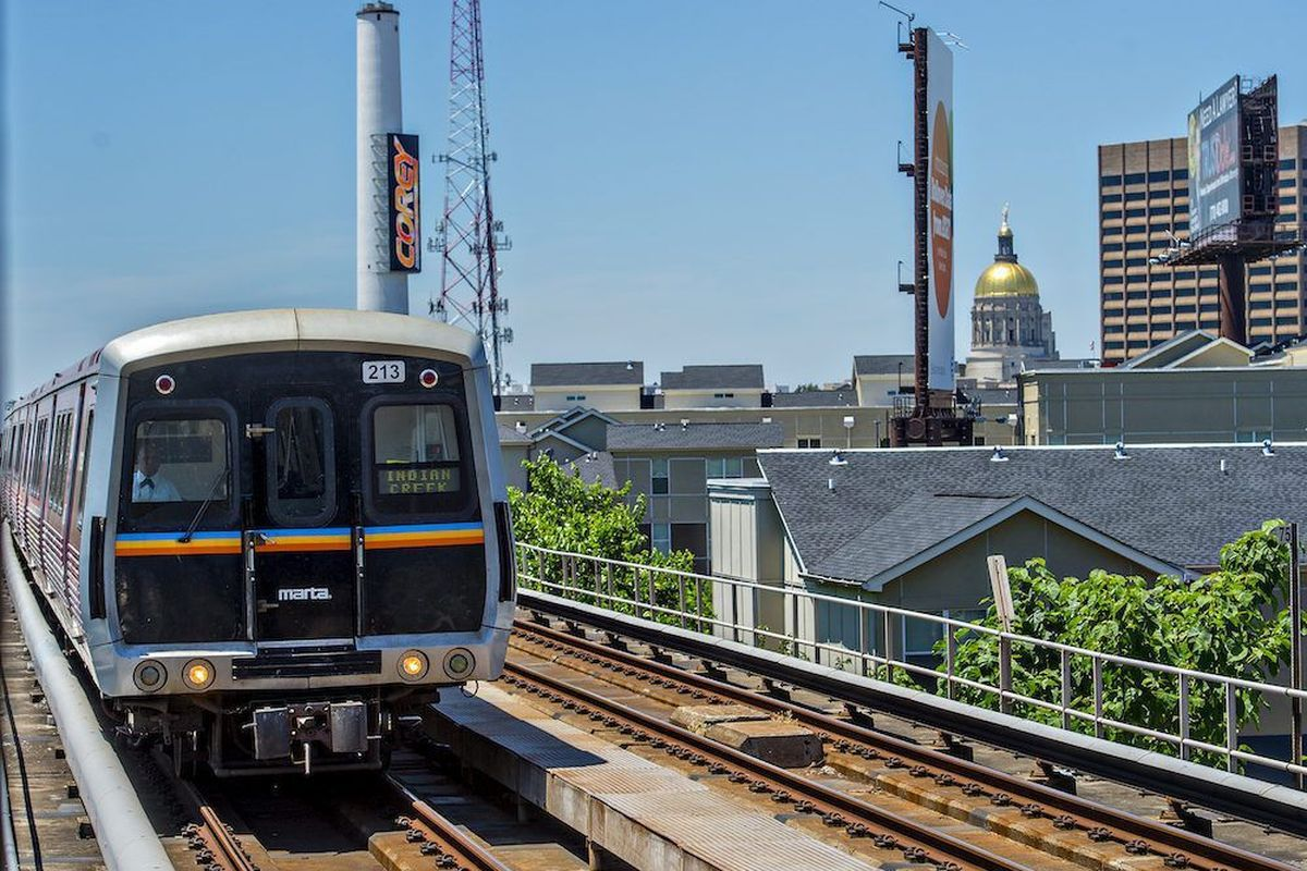 A Marta train leaves downtown Atlanta headed east in this photo.