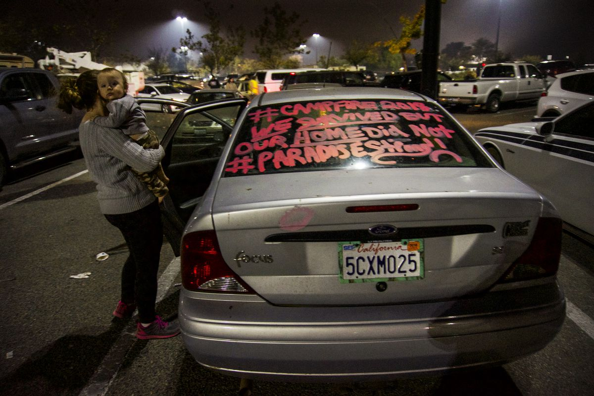 Brook Jenkins' car was damaged as she fled the Camp Fire from her home in Paradise, California.
