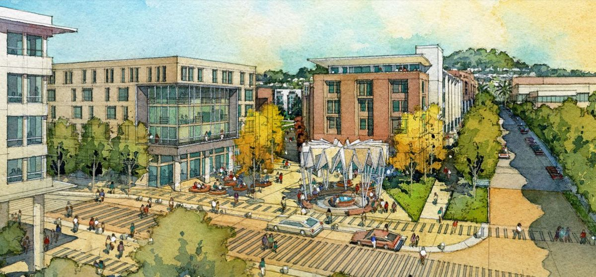 Watercolor drawings of new houses and parks at Balboa Reservoir.