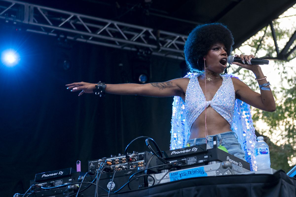 Georgia Anne Muldrow performs at the Blue Stage at Pitchfork music festival on Day 2 at Union Park.