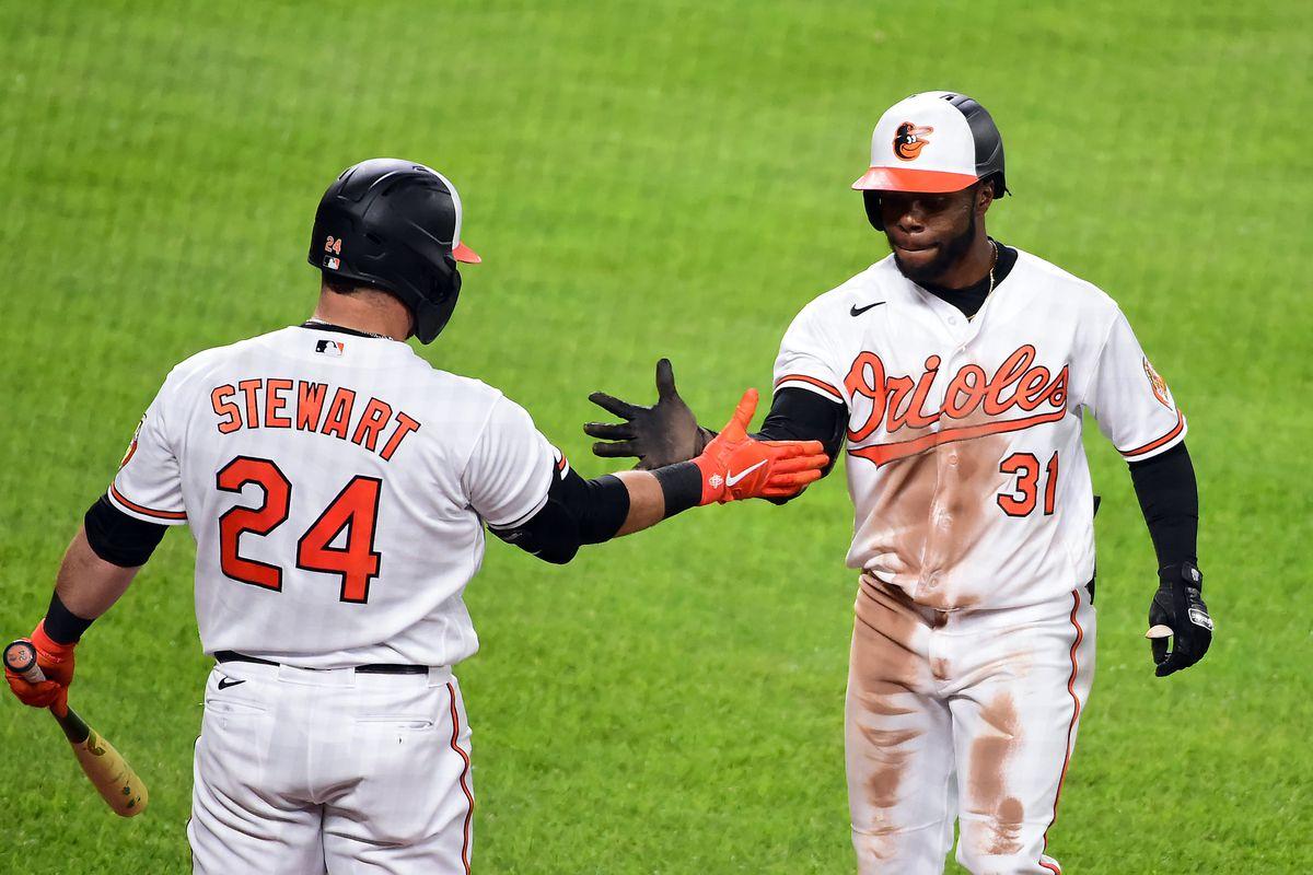 Baltimore Orioles outfielder Cedric Mullins celebrates with outfielder DJ Stewart after hitting a home run during the seventh inning against the New York Yankees at Oriole Park at Camden Yards.