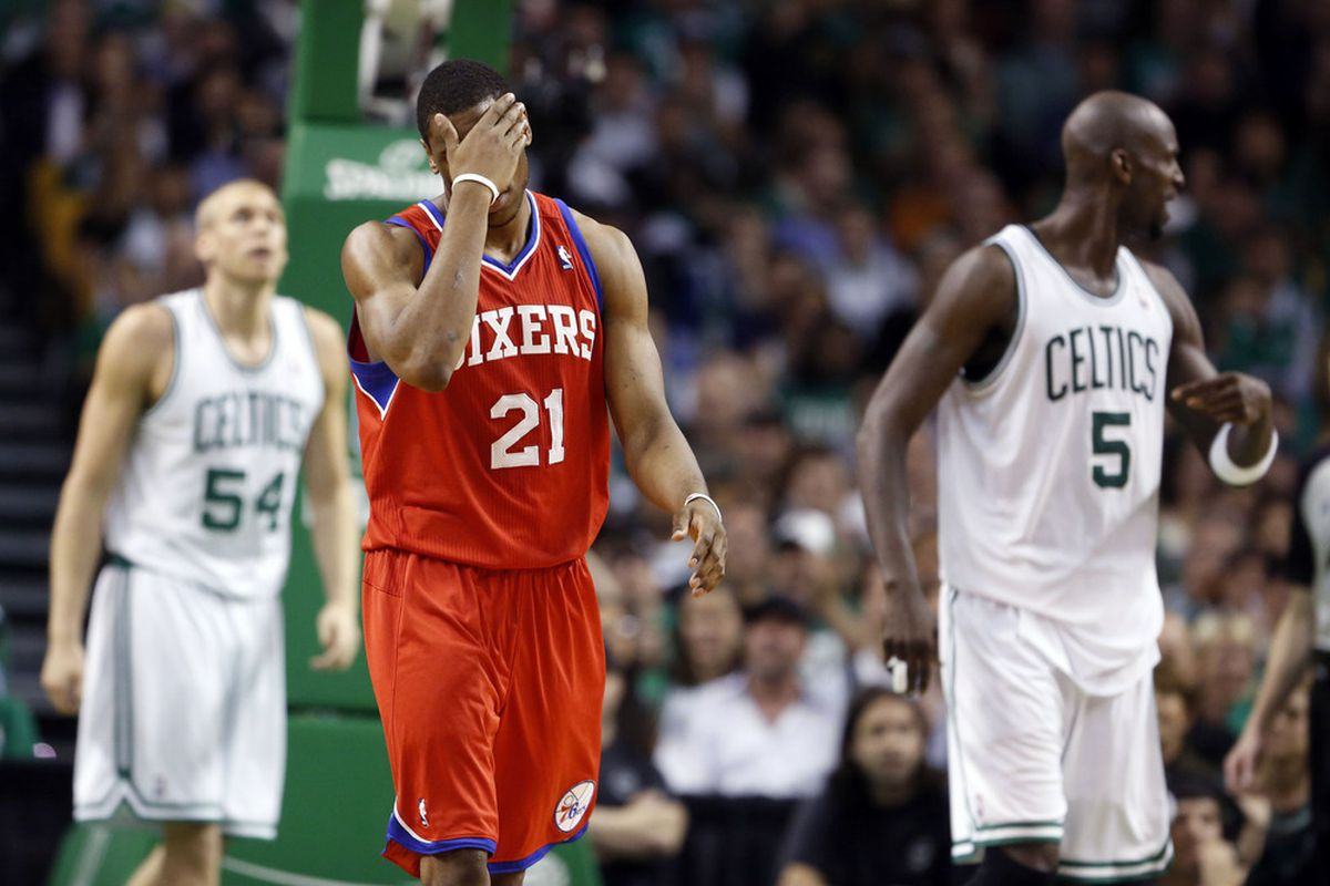 The Sixers committed turnovers in 4 out of 5 possessions during the 3rd quarter as the Celtics blew open the pivotal game 5, beating the Sixers 101-85 to take a 3-2 lead in the series.. Mandatory Credit: David Butler II-US PRESSWIRE