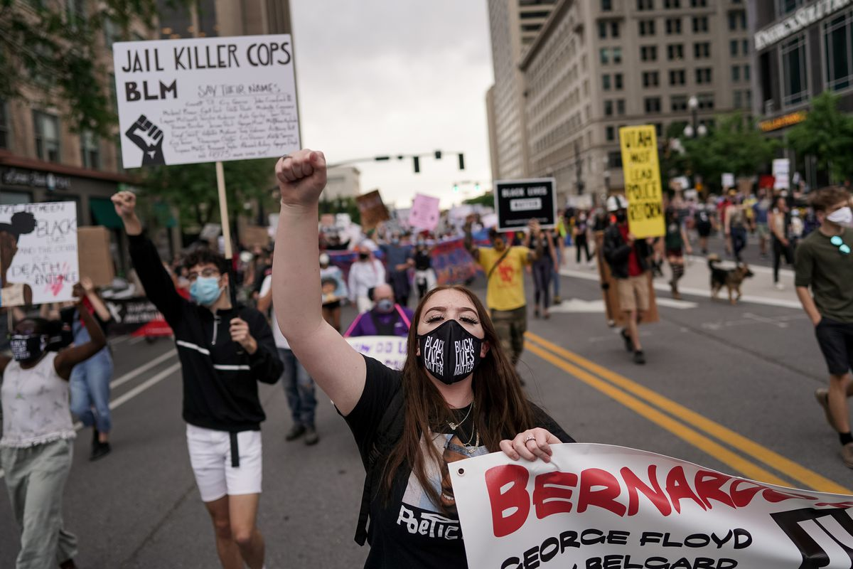 Sofia Alcalá and other protesters march through downtown Salt Lake City on Saturday, June 13, 2020. The day's demonstrations were the latest in ongoing protests against racism and police brutality that have followed the killing of George Floyd in Minneapolis.