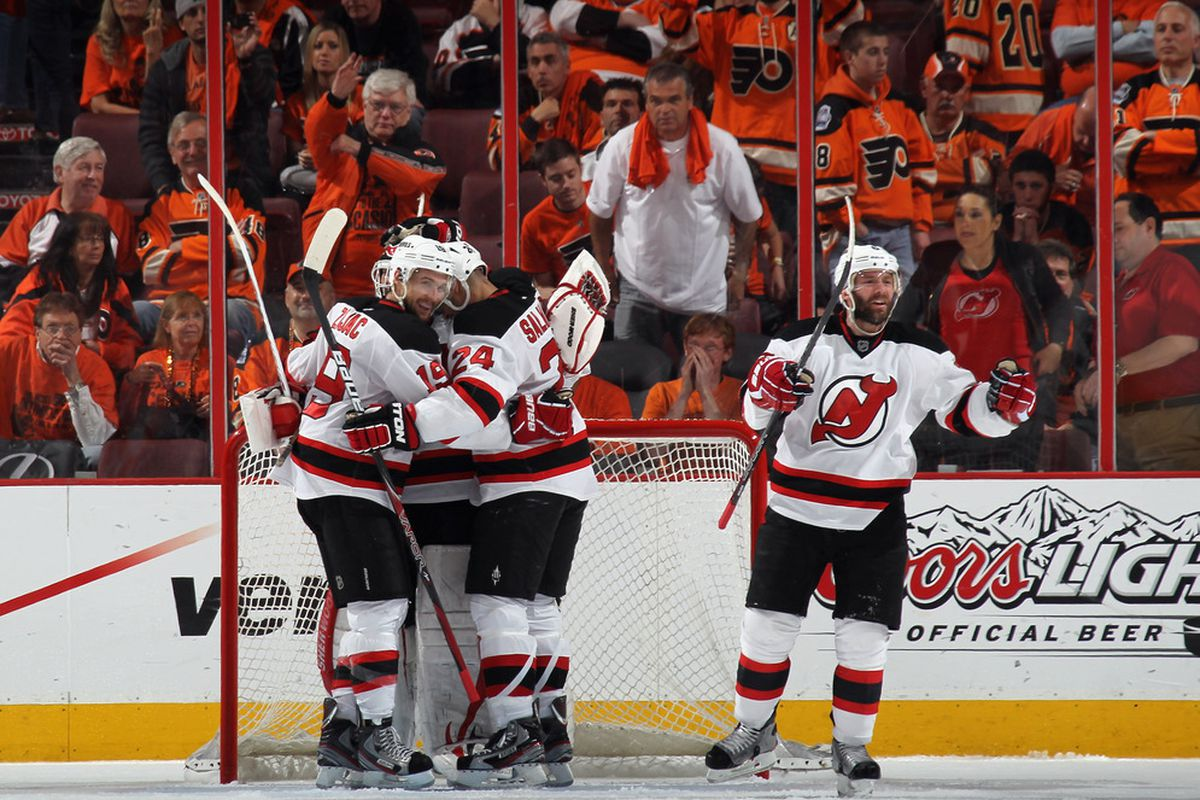 PHILADELPHIA, PA - MAY 08: (L-R) Props to the lady in the Devils shirt in Philly.(Photo by Bruce Bennett/Getty Images)