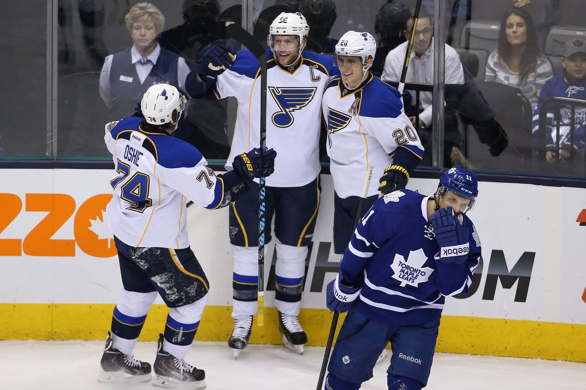 Blues score power play goal against the Toronto Maple Leafs.