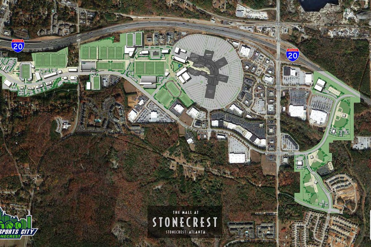 Aerial plans showing more than 30 sports fields around the existing mall.