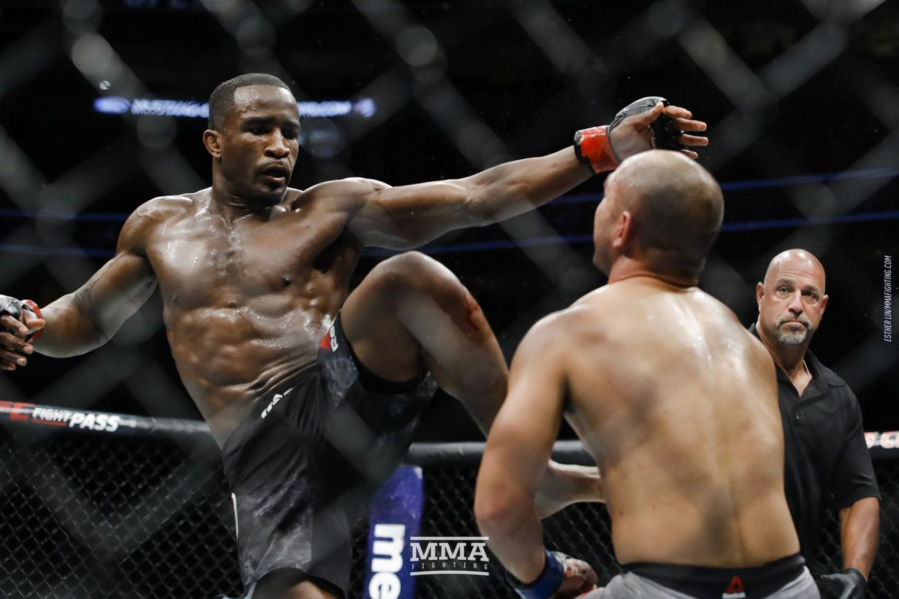 Geoff Neal lands a head kick KO at UFC 228 Saturday in Dallas