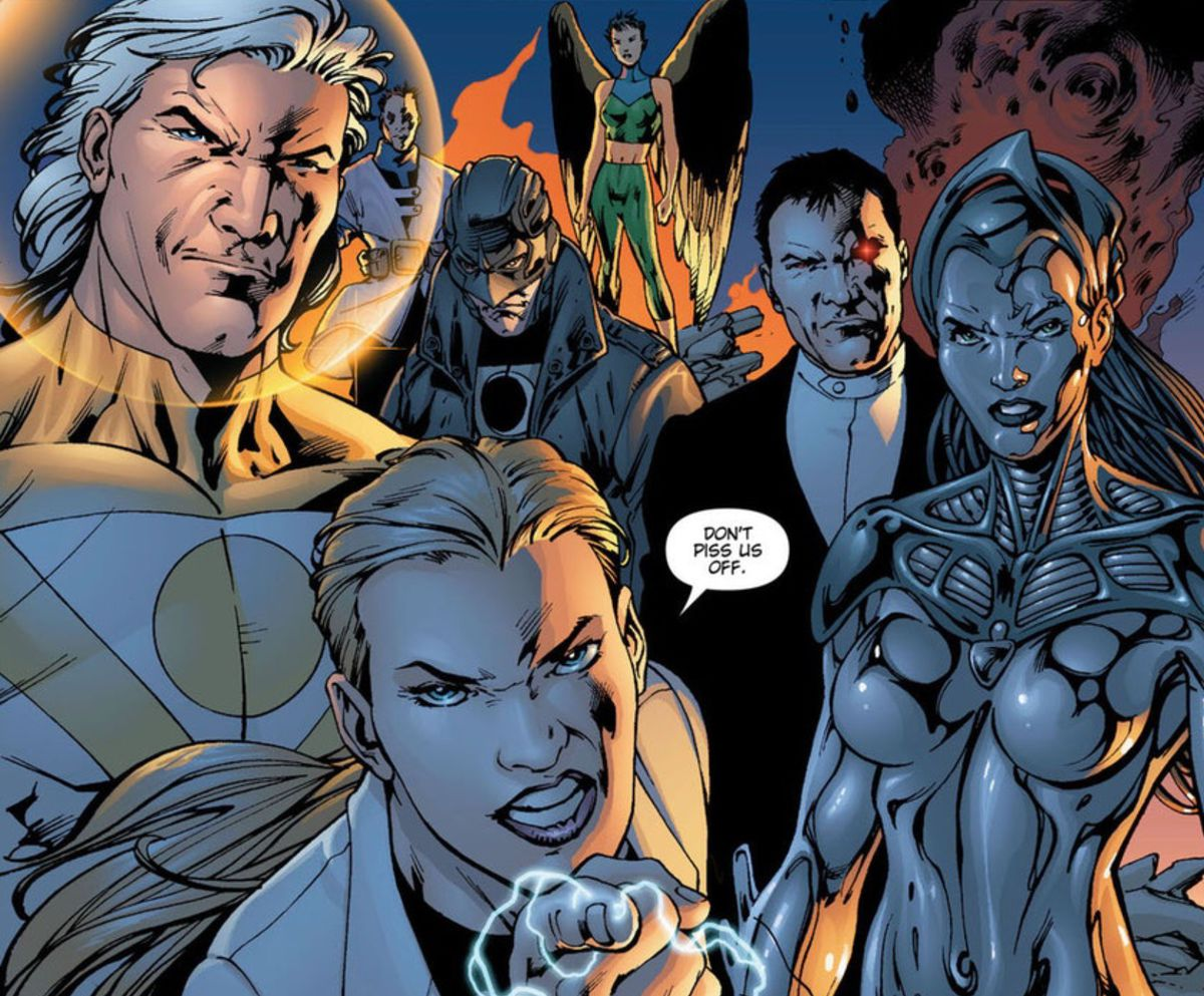 """""""Don't piss us off,"""" Jenny Quantum warns, backed by the other members of the Authority, LtR: Apollo the Doctor, Midnighter, Swift, Jack Hawksmoor, the Engineer, in The Authority Vol. 1, DC Comics (1999)."""