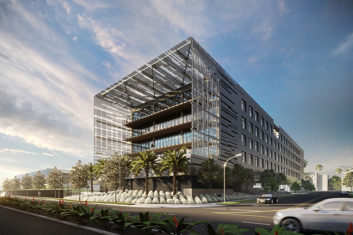 A rendering of a boxy building with an aluminum shell protruding over the front facade.