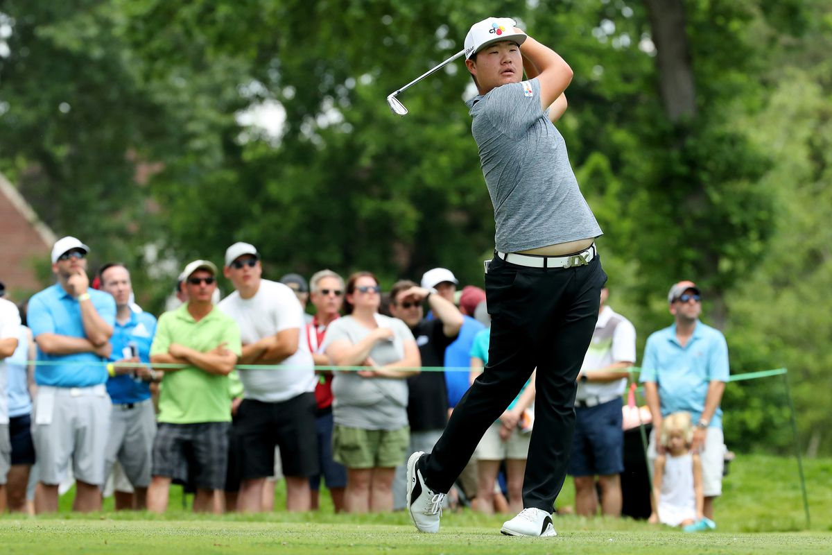 Sungjae Im of South Korea plays his shot from the ninth tee during round three of the Rocket Mortgage Classic at the Detroit Country Club on June 29, 2019 in Detroit, Michigan.
