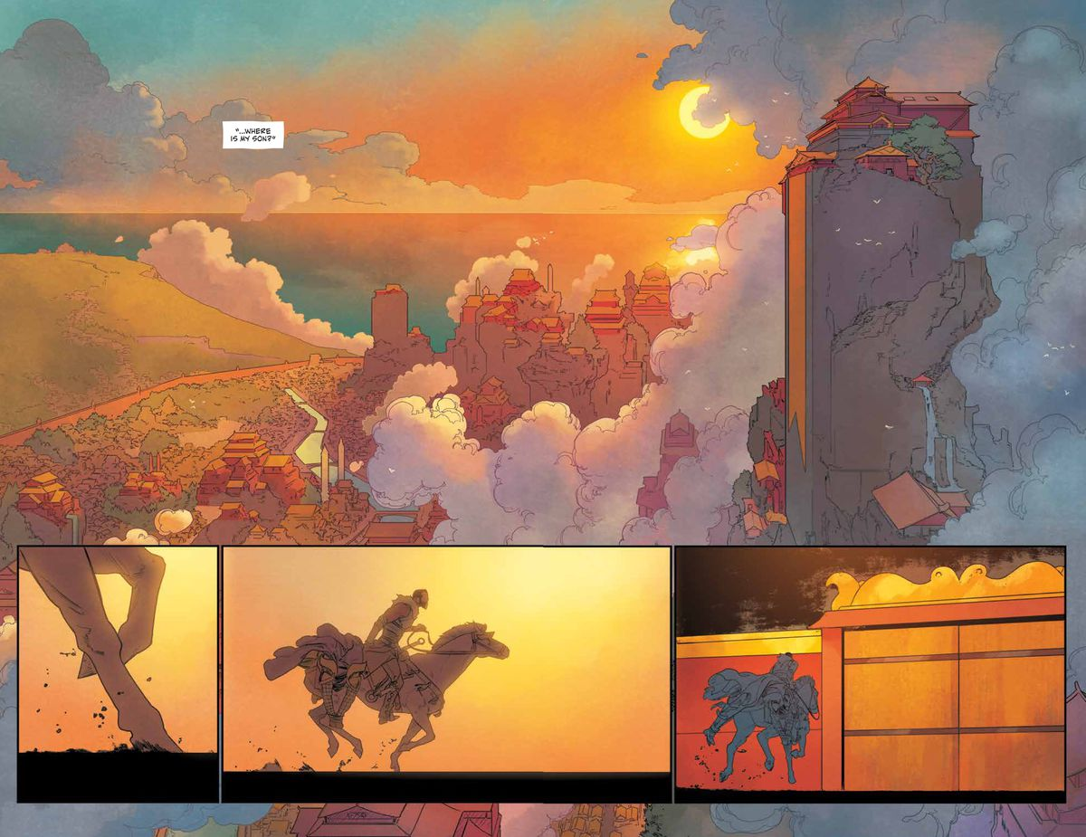 The sun sets over a massive fantasy city by the ocean, as a lone rider charges towards its gates in the golden light, in The White Trees #2, Image Comics (2019).