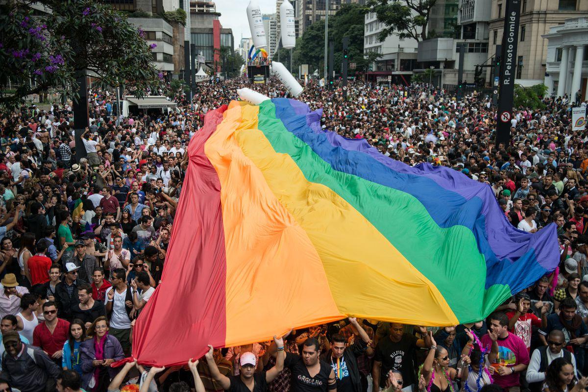 A giant gay pride flag in Brazil.
