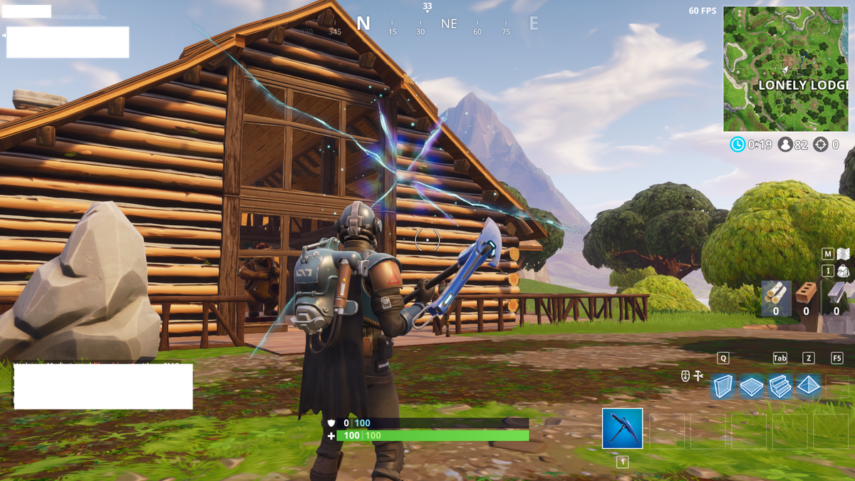 Fortnite - a rift opens in front of a wooden cabin