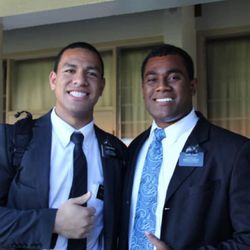 Elder Will Hopoate, left, and a mission companion while serving in the Australia Brisbane mission.