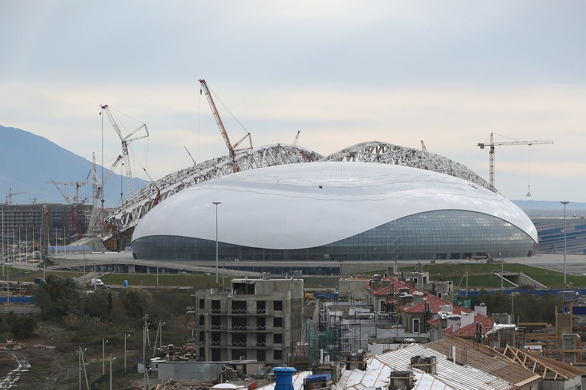 A view of building work in front of the Bolshoi Ice Palace, the Olympic 2014 Ice Hockey venue on December 7, 2012 in Sochi, Russia.