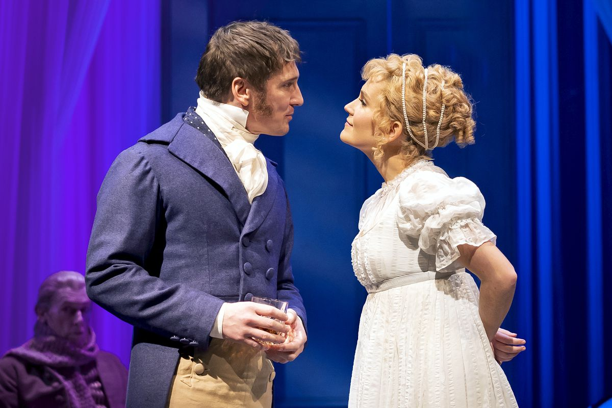 """Emma Woodhouse (Lora Lee Gayer) meets her match in Mr.Knightley (BradStandley) """"Emma,"""" a new Chicago Shakespeare Theater musical adaptation of JaneAusten's beloved novel, directed by BarbaraGaines in the CourtyardTheater."""