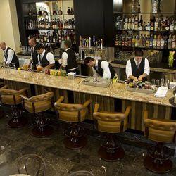 A look down at the bar.