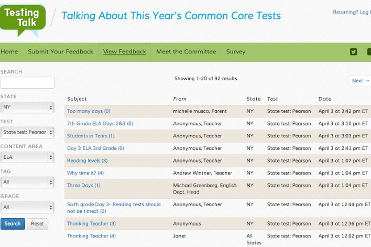 A new website asks teachers to share their thoughts about Common Core tests.