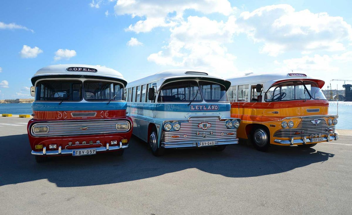 Colorful retro buses