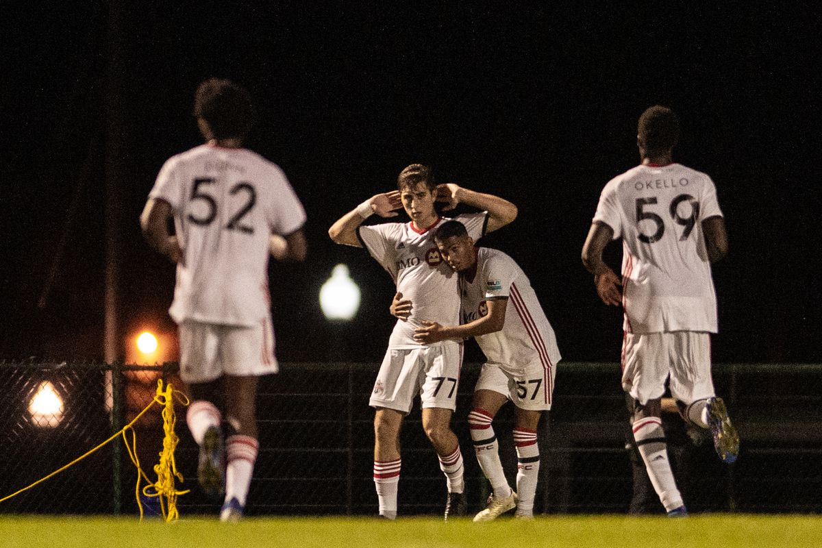 USL League One Photo - Toronto FC II's Jordan Perruzza celebrates his goal of the week-winning chip against Orlando City B last weekend, cupping his ears as he silences the, albeit limited, crowd