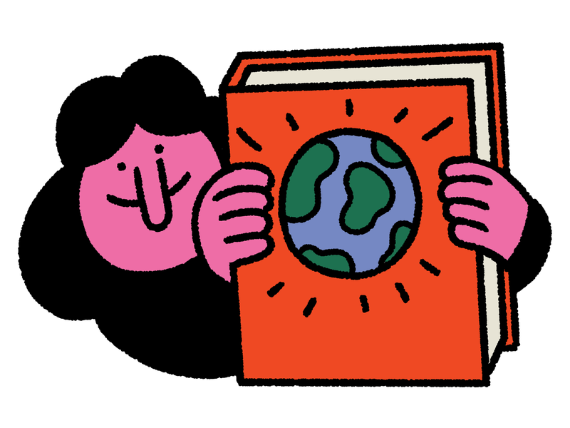 A person holds a large red book with a picture of the earth on it. This is an illustration.