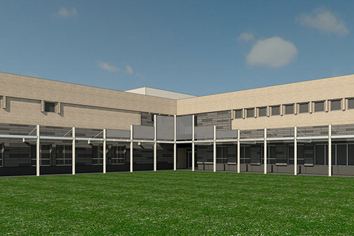 An artist's rendering of a brick, two-story building that is long and modern.