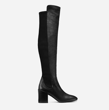 3e0be55dc60 Tall black boot with leather front and elastic back paneling.