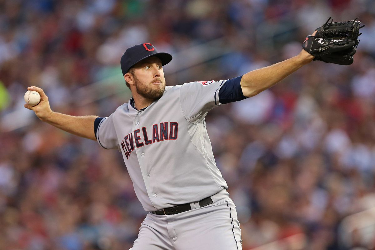 July 27, 2012; Minneapolis, MN, USA: Cleveland Indians relief pitcher Jeremy Accardo (57) delivers a pitch in the fifth inning against the Minnesota Twins at Target Field. Mandatory Credit: Jesse Johnson-US PRESSWIRE
