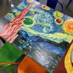 Kids from the High School of Art and Design created this table.
