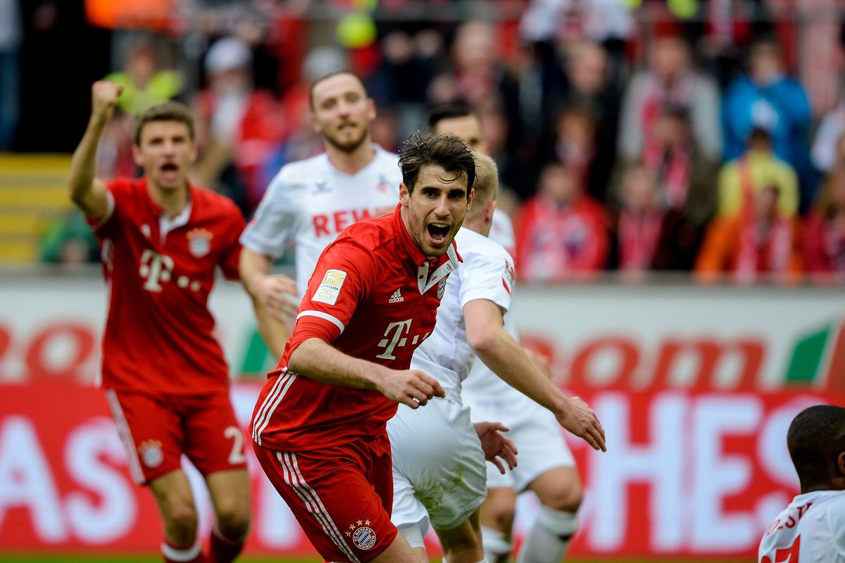 Bayern Munich's Spanish midfielder Javier Martinez celebrates scoring the opening goal during the German First division Bundesliga football match between 1 FC Cologne and FC Bayern Munich in Cologne, western Germany, on March 4, 2017. / AFP PHOTO / SASCHA SCHUERMANN / RESTRICTIONS: DURING MATCH TIME: DFL RULES TO LIMIT THE ONLINE USAGE TO 15 PICTURES PER MATCH AND FORBID IMAGE SEQUENCES TO SIMULATE VIDEO. == RESTRICTED TO EDITORIAL USE == FOR FURTHER QUERIES PLEASE CONTACT DFL DIRECTLY AT + 49 69 650050 (Photo credit should read SASCHA SCHUERMANN/AFP/Getty Images)