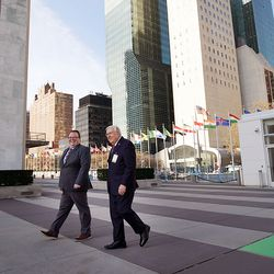 President M. Russell Ballard, right, acting President of the Quorum of the Twelve Apostles of The Church of Jesus Christ of Latter-day Saints, walks with Felipe Queipo, communications officer for the UN Department of Global Communications, as they enter the United Nations in New York City on Friday, Nov. 15, 2019.