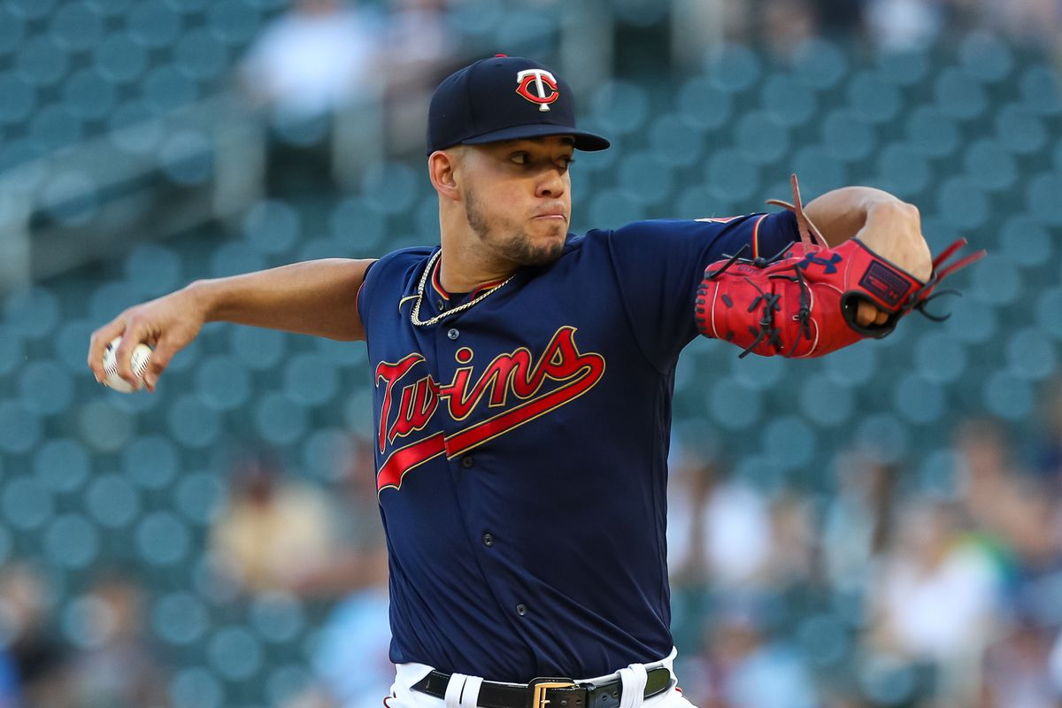 Jose Berrios #17 of the Minnesota Twins delivers a pitch against the Houston Astros in the first inning of the game at Target Field on June 12, 2021 in Minneapolis, Minnesota.