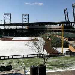 Still snow everywhere here at @SaltRiverFields on the Frozen Tundra of Scottsdale!