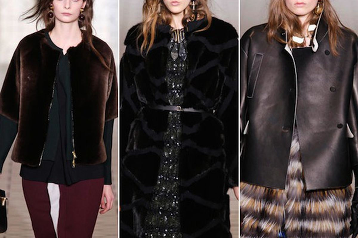 That coat/jacket combo on the right would be perfect for our chilly weather right now. Marni images via All The Rage