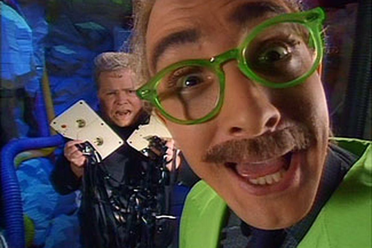 "We'll send them cheesy ballgames... the worst we can find. LA-LA-LA! (via <a href=""http://www.dvdinmypants.com/reviews/H-N/images/MST3K1.jpg"">www.dvdinmypants.com</a>)"