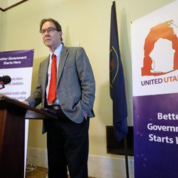 BYU political science professor Richard Davis announces the formation of the United Utah Party — a new political party in Utah that aims to appeal to moderate Republicans, Democrats and independents who are dissatisfied with the current two-party system — during a press conference at the Capitol in Salt Lake City on Monday, May 22, 2017.