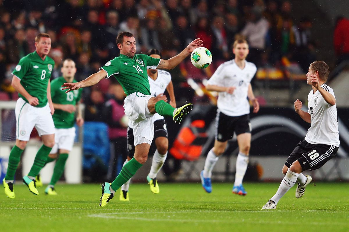 Gibson against Germany on October 11, his first game for Ireland since Euro 2012.