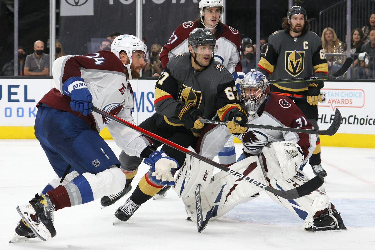 Patrik Nemeth #24 of the Colorado Avalanche and Max Pacioretty #67 of the Vegas Golden Knights look for a rebound after Philipp Grubauer #31 of the Avalanche made a save in the second period in Game Four of the Second Round of the 2021 Stanley Cup Playoffs at T-Mobile Arena on June 6, 2021 in Las Vegas, Nevada. The Golden Knights defeated the Avalanche 5-1.