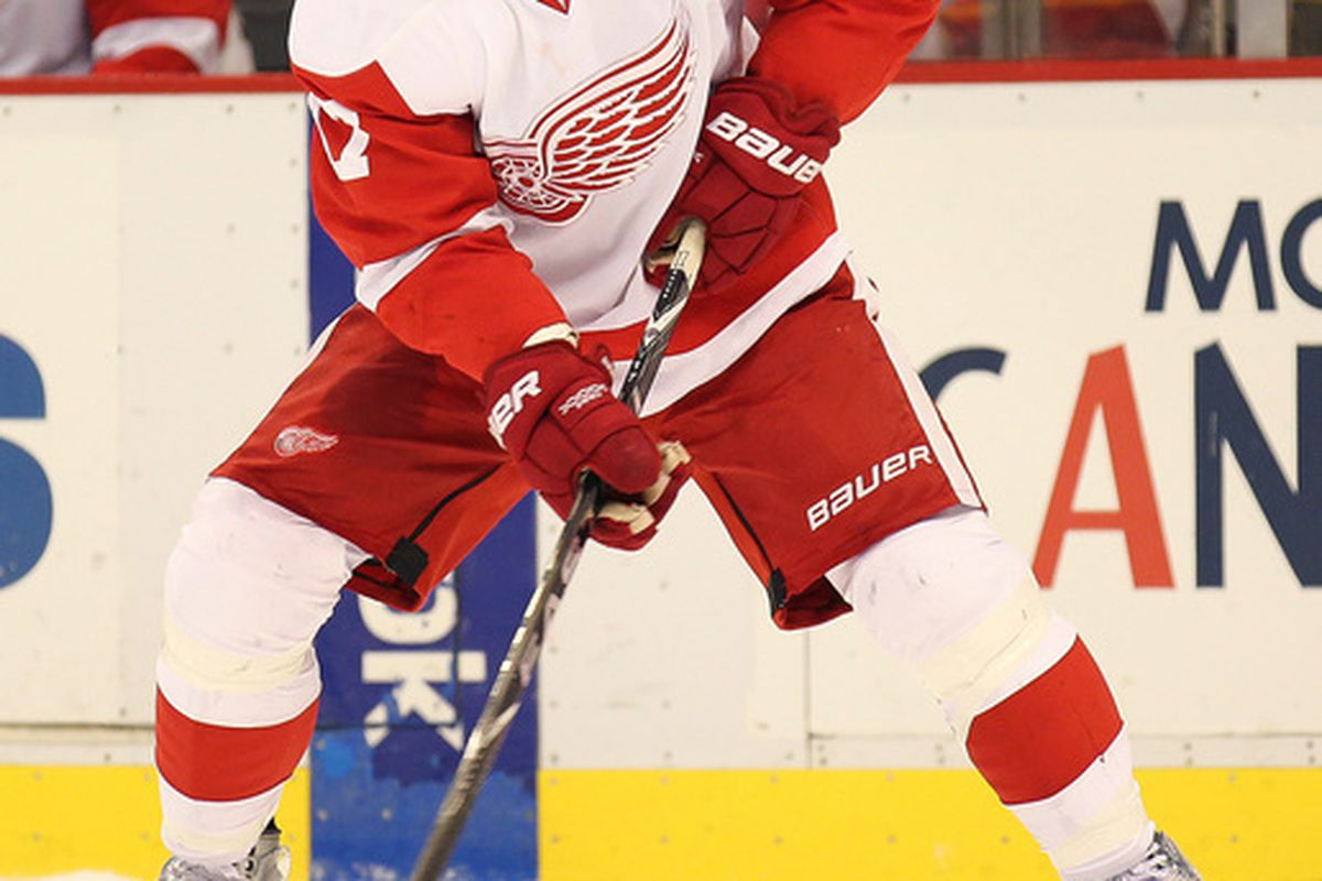 DETROIT MI - OCTOBER 30:  Patrick Eaves #17 of the Detroit Red Wings looks to receive a pass in a game against the Nashville Predators on October 30 2010 at the Joe Louis Arena in Detroit Michigan. (Photo by Claus Andersen/Getty Images)