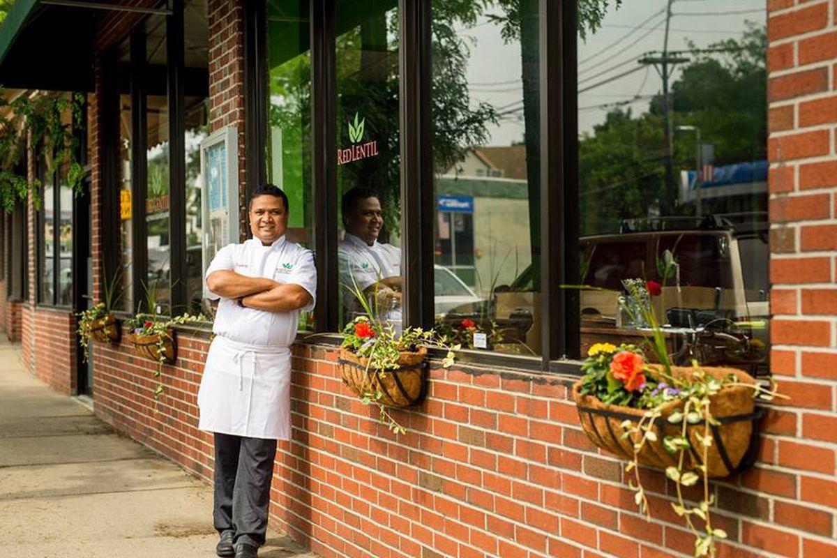 Chef/owner Pankaj Pradhan outside Red Lentil