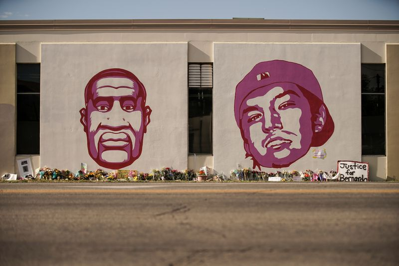 A mural depicting George Floyd and Bernardo Palacios-Carbajal is pictured at the corner of 300 West and 800 South in Salt Lake City on Thursday, June 11, 2020. The death of George Floyd under the knee of a police officer in Minneapolis has sparked weeks of international protests of systemic racism and police brutality. Palacios-Carbajal was shot and killed by Salt Lake police officers on May 23 and has become a local focal-point of local protests.