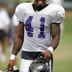WESTMINSTER, MD - AUGUST 8: Linebacker Tyson Smith #41 practices during Baltimore Ravens training camp on August 8, 2005 at McDaniel College in Westminster, Maryland.