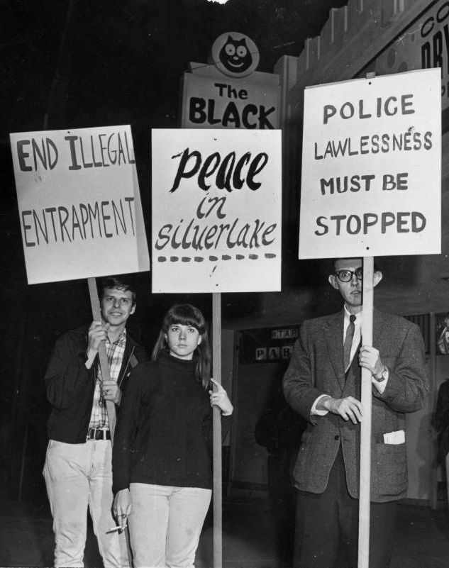 Protesters in front of the Black Cat