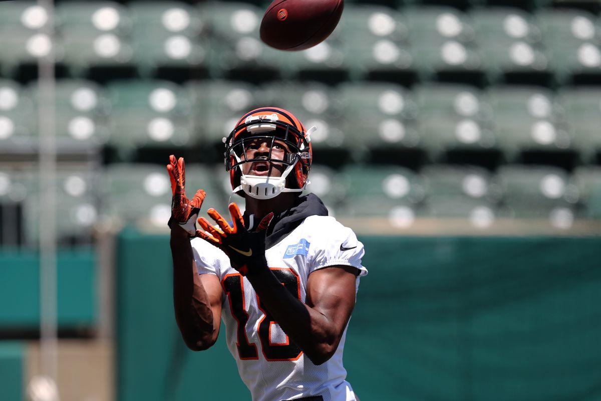 Cincinnati Bengals wide receiver A.J. Green participates in drills during minicamp at Paul Brown Stadium.
