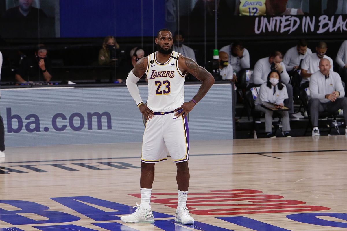 LeBron James of the Los Angeles Lakers looks on against the Miami Heat in Game three of the 2020 NBA Finals as part of the NBA Restart 2020 on October 4, 2020 at AdventHealth Arena at ESPN Wide World of Sports Complex in Orlando, Florida.