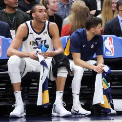 Utah Jazz center Rudy Gobert (27) treats his knee on the sideline during a basketball game against the New York Knicks at the Vivint Smart Home Arena in Salt Lake City on Friday, Jan. 19, 2018.